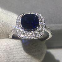 banda de cristal azul venda por atacado-Mulheres Moda almofada corte 3ct Azul 5A zircão cristal 925 anel de Noivado anel de casamento de prata esterlina para as mulheres Bijoux