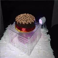 акриловые подставки для центральных частей оптовых-3 размеры квадратный прозрачный акриловый Кристалл гирлянда торт стенд хрустальные бусины люстра стол центральные для свадьбы даже партии декор