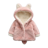 Wholesale Jacket Rabbit Fur Hoods - Baby Girls Winter Jackets Warm Faux Fur Fleece Coat Children Jacket Rabbit Ear Hooded Outerwear Kids Jacket for Girls Clothing