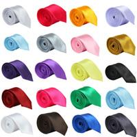 сплошные цветные галстуки оптовых-Мода Мужчины Женщины тощий сплошной цвет равнина Атлас полиэстер свадьба шелковый галстук галстук галстук 20 цветов 5cmx145cm