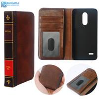lg cuir cas de téléphone portable achat en gros de-Etui à rabat en cuir pour téléphone portable LG K30 couverture portefeuille rétro Bible livre Vintage Business Pouch