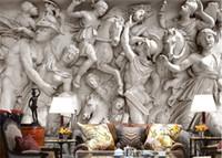 estátuas de parede venda por atacado-Sob encomenda da foto papel de parede 3D estátuas Romanas arte papel de parede restaurante retro sofá pano de fundo 3d papel de parede mural pintura de parede