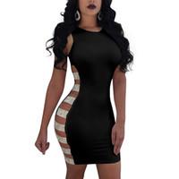 robes de sensations achat en gros de-Sexy Femmes Robes Open Side Dress Sans Manches Creux Out Gaine Mini robes Dames Night Club Party Dress 2018 New Fashion