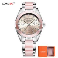 reloj longbo al por mayor-2018 LONGBO Marca de Moda Reloj de Mujer de Cerámica Y Aleación Pulsera Reloj Analógico Relogio Feminino Montre Relogio Reloj