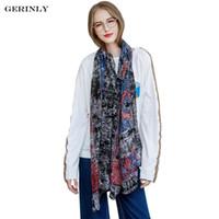 Wholesale Lightweight Fashion Scarves - GERINLY 180x90cm Scarf Women New Designer Bandana Fashion Printed Long Scarves Luxury Brand Lightweight Wrap Hijab Shawl