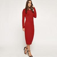 uzun kollu pamuk bodycon elbise toptan satış-
