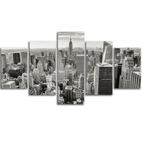 Wholesale Wall Poster New York - MingTing - 5 Panel Canvas Wall Manhattan New York Landspace Poster Painting Modern Home Decor For Living Room Aisle No Frame