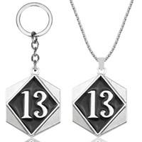 etiquetas de números vintage al por mayor-Hombres Biker Vintage Lucky Number 13 Tag Colgante Collar con 24