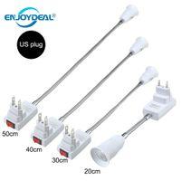 adaptador de bulbo de tornillo al por mayor-Nueva Flexible E27 Lámpara de luz Adaptador de bulbo Extender extensión Convertidor Base de pared Tornillo Socket Enchufe EE. UU. EE. UU. Blanco + plata
