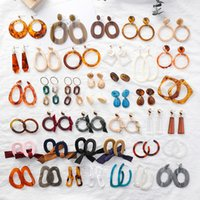 Wholesale Fashion Circle Long Earrings - Fashion Retro cold style earrings Acrylic acrylic circle geometric Bohemia long earrings For Women Statement Charm Jewelry Party Gifts new