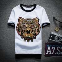 Wholesale tiger shirts for men - 2018 Spring Summer famous Brand for men T-shirt Designer luxury red black stripe letter print tshirt Runway tiger cat Tees Casual Top