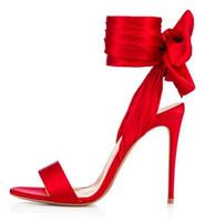 spitze-hochzeitskleid rotes band großhandel-Red Ribbon Butterfly Knot Sandalen Sexy Frauen Knöchel Lace-up Party Hochzeit Schuhe Pailletten Tuch Damen Tanzkleid High Heel Sandalen