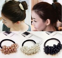 détenteurs de queue de cheval perle achat en gros de-Corde de cheveux en plastique à la mode, Perles Beads Band Headband de queue de cheval, Accessoires pour cheveux pour femmes