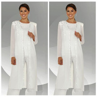 Wholesale light blouses - 2018 Custom Formal White Chiffon Long Sleeves Mother of the Bride Pant Suits With Long Blouse Lace Sequins Beaded Mother of Groom Pant Suit