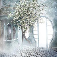 Wholesale photography backdrops interiors online - Dreamlike White Flower Tree Interior Photography Backdrop Brick Floor Printed Arched Door Stairs Wedding Photo Shoot Backgrounds for Studio
