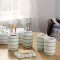 Wholesale hotel bath soaps for sale - Group buy Ceramic Bathroom Accessories Toothbrush Holder Dispenser Soap Dish Cups piece Set Green Striped Home Hotel Bath Room Products