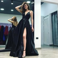 3d0cd6e146 2018 Elegant Black Deep V-Neck A-Line Evening Gowns Spaghetti Straps High  Slits Long Backless Court Train Satin Formal Prom Dresses Cheap