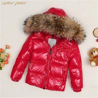 Wholesale desigual for sale - Group buy Children Down Jacket Russia Winter Raccoon Fur Collar Kids Warm Outwear Snow Coat For Boys Girls Cyy149