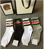 Wholesale knee socks for women - New Embroidery tiger head Socks stockings for Men And Women Fashion Designer Antibacterial Cotton Luxury Brand Unisex Long Sport Socks