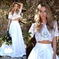 Wholesale two piece satin wedding dress vintage online - 2019 Two Piece Wedding Dresses Short Sleeves Illusion Appliqued Lace Crop Top Satin Skirt Boho Wedding Dresses Beach Bohemian Bridal Gowns