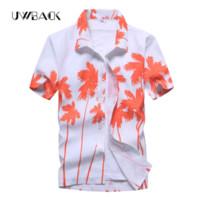 Wholesale light brown shirt men - Uwback Men 'S Summer Hawaiian Shirts Single Breasted Light Beach Shirts Short Sleeve Breathable Plus Size 5xl Hawaii Shirts Xa068
