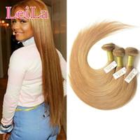 Wholesale eurasian extensions - Brazilian Virgin Hair Weave Bundles Color 27# Honey Blonde Peruvian Malaysian Indian Eurasian Russian Silky Straight Human Hair Extensions
