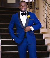 ingrosso best image coat pant-Nuovo Designe One Button Royal Blue Smoking dello sposo Eccellente Groomsmen Uomo Abiti formali Business Prom Suit Personalizza (Jacket + Pants + Tie) NO; 55