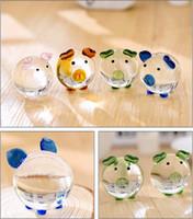 ingrosso mini figurine-2 pezzi di vetro di cristallo animale maiale in miniatura figurine scrivania ornamenti bauble mini mobili per la casa artigianato di nozze souvenir