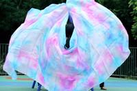 bauchtanz rosa schleier großhandel-Bühnentanzabnutzung Bauchtanz 2016 neues Design 100% Seidenschleier Bauchtanz, Rosa Türkis Weiß und andere Farben gemischt Schleier Großhandel 250