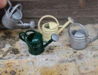 миниатюрные садовые инструменты оптовых-1pc 1/6 1/12 Mini Dollhouse Metal Watering Can Garden Tool Miniature Furniture Decor Classic Toys For Kids Dolls Accessory