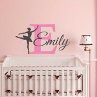 odalarda vinil kız isimleri toptan satış-Çıkarılabilir Balerin Duvar Çıkartması Kız Kişiselleştirilmiş Adı Bale Dans Vinil Duvar Sticker oturma odası Yatak Odası ev dekorasyon için
