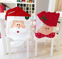 Wholesale media chairs resale online - Santa Claus Mrs Claus Cap Chair Covers Christmas Dinner Table Decoration for Home Chair Back Cover Decoracion