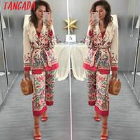 escritório mulheres terno longo venda por atacado-Tangada Mulheres terno blazer floral designer jaqueta coreia da moda 2018 manga Longa senhoras blazer casaco de escritório feminino blaser 3H48