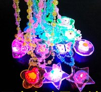 Wholesale led light up necklace - LED Light Up Cartoon Pendants Necklace Christmas Kids Adults Party Favors Creative Luminous Glow Necklaces Acrylic Lanyard gift present