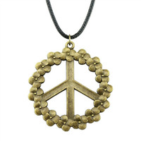 Wholesale leather peace sign jewelry for sale - Group buy WYSIWYG Pieces Leather Chain Necklaces Pendants Choker Collar Women Necklace Jewelry Flower Peace Sign mm N6 A10536