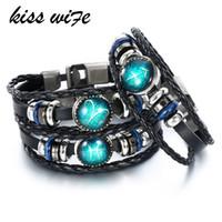 kiss armbänder großhandel-KISS WIFE 12 Constellation Lederarmbänder Armreifen Jungfrau / Schütze / Wassermann / Skorpion / Waage / Steinbock Armband Männer