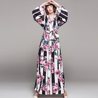 Wholesale Long Pajama Dress - Lady Milan 2018 Women's Sexy V Neck Long Sleeves Stripred Floral Printed Loose Design Sash Belt Casual Pajama Maxi Fashion Dress