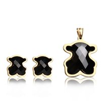 Wholesale Color Stone Earrings - TL Gold&Silver Color Stainless Steel Stone Bear Jewelry Set High Quality Fashion Never Fade Hot Selling