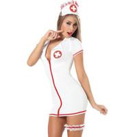 fatos de enfermagem uniformes venda por atacado-2018 Uniformes De Enfermagem Quente Mulheres Naughty Traje Médico Diabo Trajes de Enfermeira Sexy Halloween Uniforme Jogo Erótico Terno Tamanho Livre