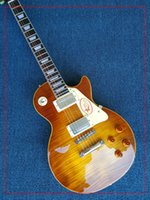 Wholesale tiger 1959 - Free delivery upgrade custom store 1959 R9 tiger flame LP electric guitar standard LP 59 Electric Guitar wholesale