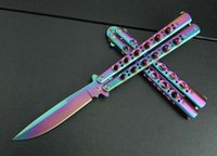 Wholesale Rainbow Butterflies - BM42 Butterfly rainbow handle Spring Latch tactical Outdoor Tactical gift knife knives new in original box BM43 41 47 3300 3350
