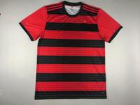 tamaño rojo de los jerseys al por mayor-Camiseta brasileña de primera calidad Ederson Guerrero Rever Everton Diego camisetas de fútbol 2018 equipo local negro y rojo camiseta de fútbol tamaño S-XXL