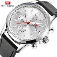 свадебные наручные часы оптовых-MINIFOCUS известный бренд Кожаный ремешок аналоговые часы мужчины роскошные мужские хронограф Япония движение Кварцевые наручные часы свадьба MF0084G