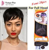 remi insan saçı toptan satış-Premium Kalite Brezilyalı Bakire Saç Remy İnsan Saç Atkı Kapatma Remi Femi 28 Adet Lot başına Bir Kafa Düz Stil Uzantıları Kadınlar için