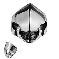meninos anel preço venda por atacado-316L máscara de aço inoxidável super cool anel estilo de Rua moda charme jóias para meninos e homens preço de fábrica