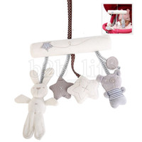 Wholesale safety toy online - Rabbit baby music hanging bed safety seat plush toy Newborn Baby Stroller Toy Cute Rabbit bear Model Baby Bed Hanging Toys LJJK1012