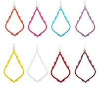 Wholesale painting earrings - New Arrival Lacquered Dangle Earrings For Women Matte Fram Painted Waterdrop Earrings Fashion Jewelry
