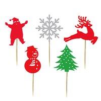 ingrosso fiocco di neve di bambù-20 pezzi 5 disegni albero di natale pupazzo di neve Babbo Natale fiocco di neve bambù raccoglitrice di frutta per 2018 decorazione di Natale Topper