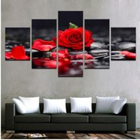 Wholesale Canvas Paintings Home Decor Living Room Wall Art Pieces Red Rose Flowers Pictures Modular Prints Stone Petal Poster Framework