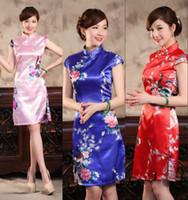 rodilla alta qipao al por mayor-Cheongsam retro promocional chino seda como satinado cuello alto sin mangas hasta la rodilla QiPao vestido impreso barato vestidos bodycon